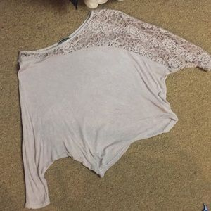 Dusty purple top with lace detail